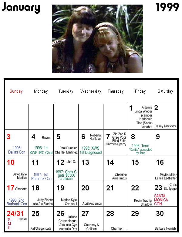 The Grrlfriends Of X Wp Calendar